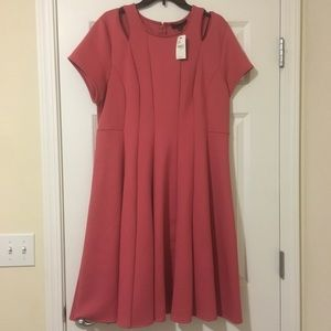 New Size 18W Lane Bryant Mauve Midi Pleated Dress